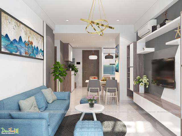 Thiết kế và thi công từ xây dựng thô cho đến hoàn thiện nội thất căn hộ chung cư Saigon South Residences Phú Mỹ Hưng - SSR - Phòng Khách