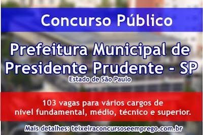 Apostila Prefeitura de Presidente Prudente - Concurso Público 2017