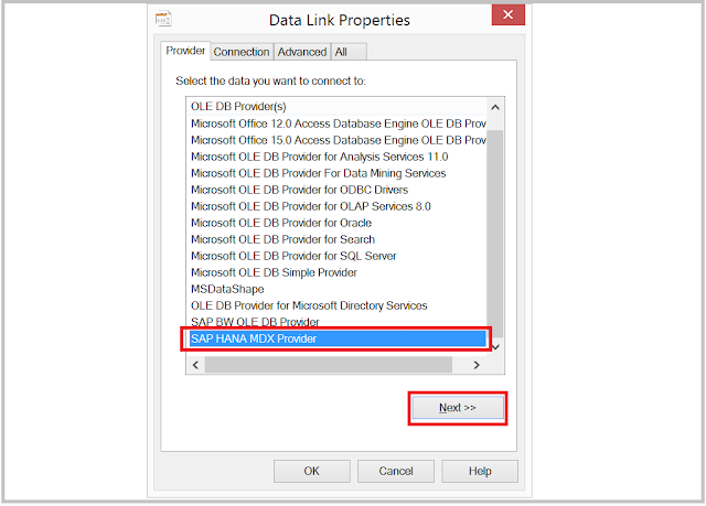 HANA-Excel ODBC Data Connection Wizard