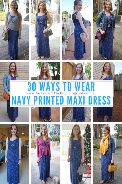30 ways to wear navy empire waist jersey printed maxi dress 30wears challenge | away from blue blog
