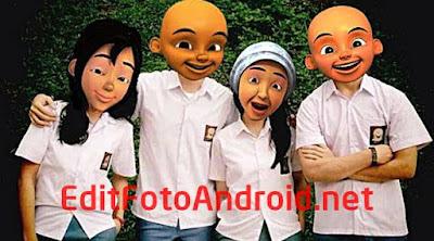 Cara Edit Foto Kepala Upin Ipin + Mentahan Wajah Upin Ipin CS PNG