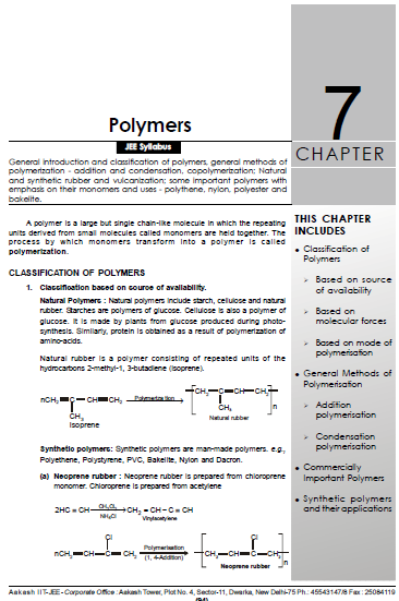 Chemistry Chapterwise Notes (Polymers) : For JEE and NEET Exam PDF Book