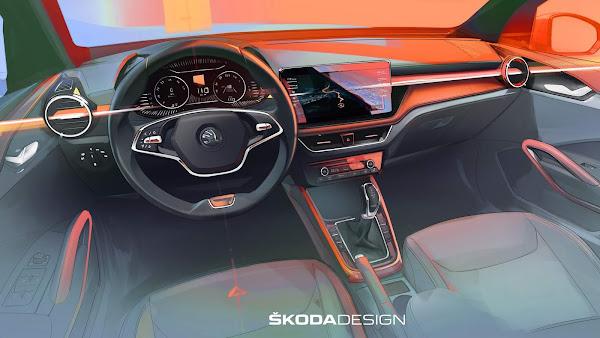 Nova geração do Škoda Fabia em teaser do interior revelado