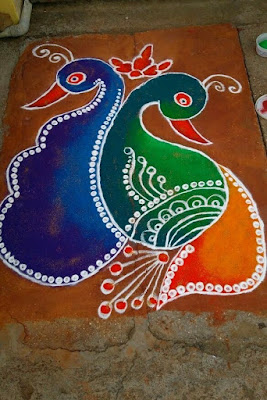 Multi Design Peacock Rangolis