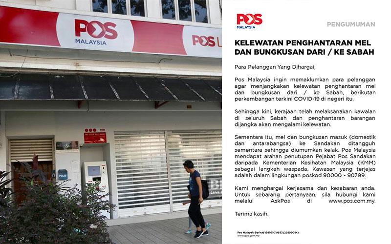 Pos Malaysia Umumkan Kelewatan Penghantaran Bungkusan Dari Sabah Dan Ke Sabah