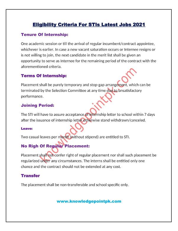 Eligibility Criteria For STIs Jobs 2021- Education Department Teaching Jobs
