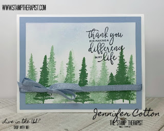 In this card, Jennifer uses the Mountain Air stamp set from Stampin' Up! to make a simple card!  The greeting is from By the Dock.  #StampinUp #StampTherapist