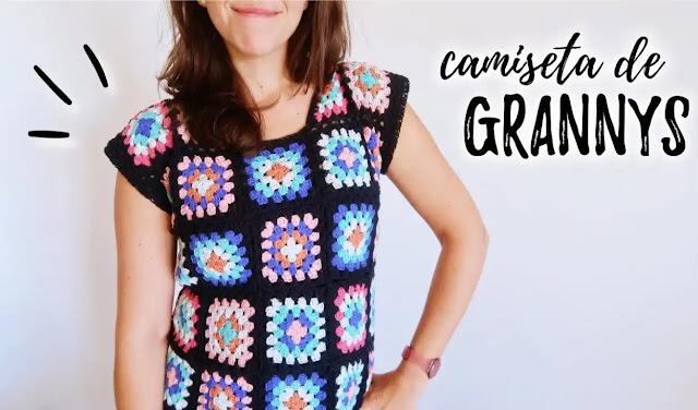 Tutorial Camiseta o Blusa con Granny Squares a Crochet