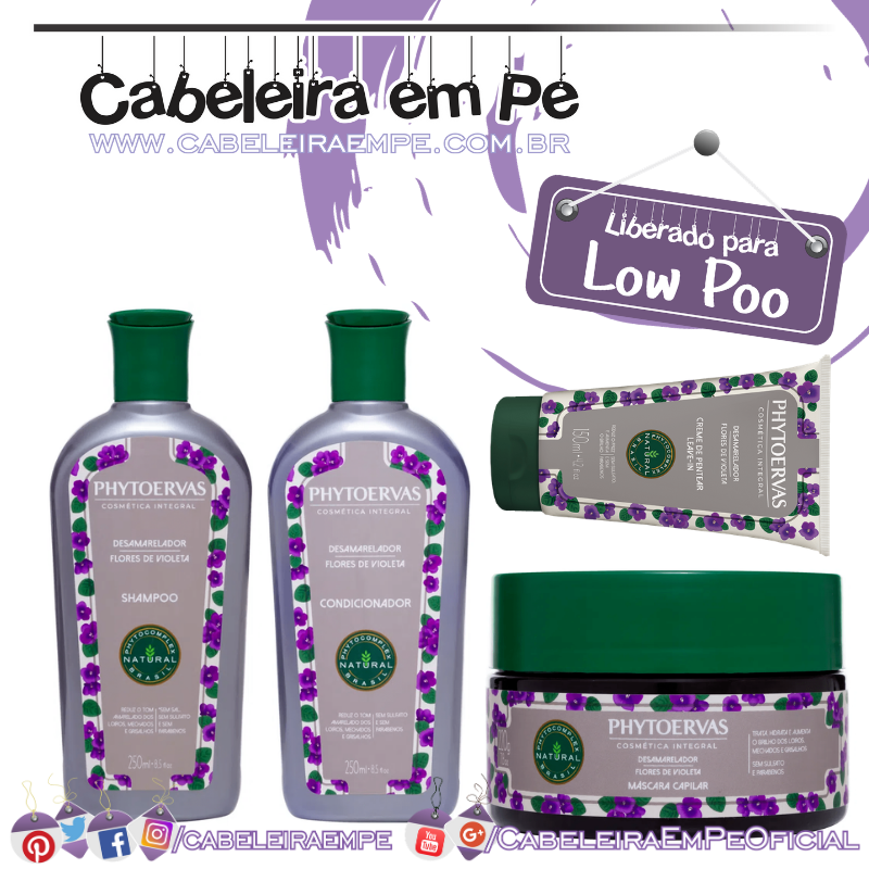 Shampoo, Condicionador Máscara e Creme para Pentear Desamarelador Flores de Violeta - Phytoervas (Low Poo)