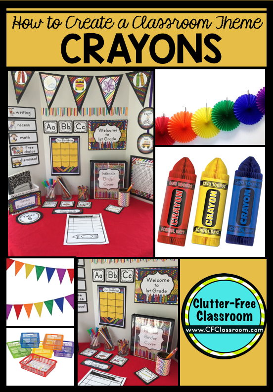 Crayons themed classroom ideas printable classroom for Art classroom decoration ideas