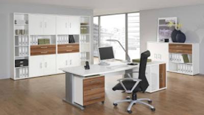 desain tempat kerja bernuansa putih