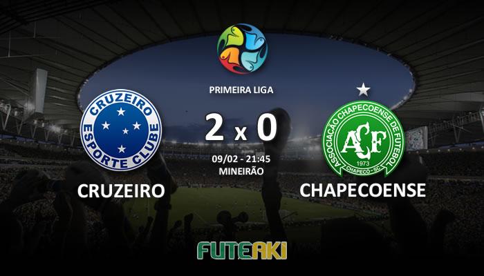 Veja o resumo da partida com os gols e os melhores momentos de Cruzeiro 2x0 Chapecoense pela Primeira Fase da Primeira Liga 2017.