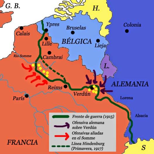 Batalla De Verdun Mapa.E Las Batallas De Verdun Y El Somme La Primera Guerra