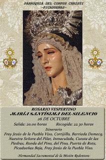 Horario e Itinerario Rosario Vespertino de María Santísima del Silencio. Jerez 26 de Octubre del 2019
