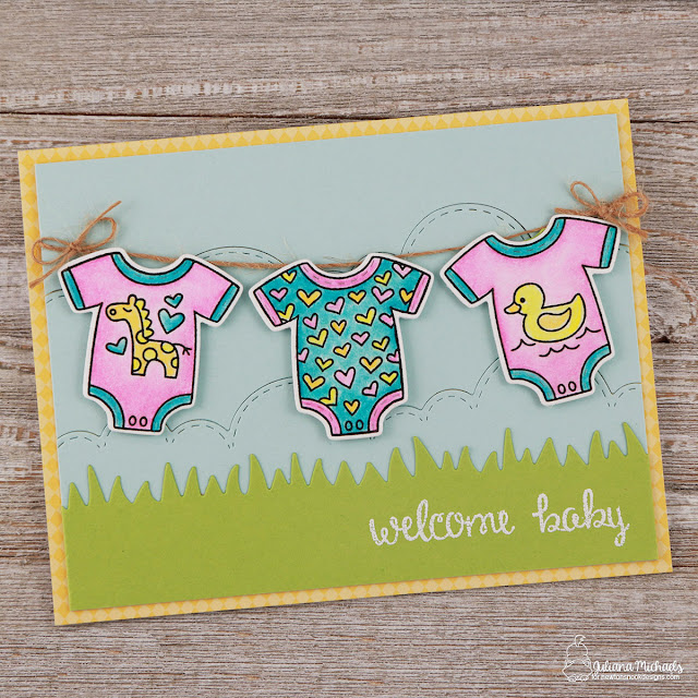 Welcome Baby Girl Card by Juliana Michaels featuring Newton's Nook Designs Lovable Laundry Stamp and Die Set