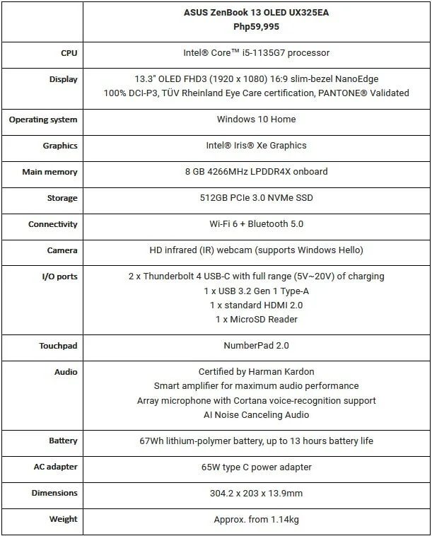 ASUS ZenBook 13 OLED Specifications