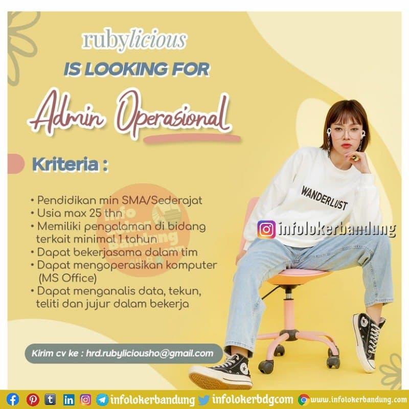 Lowongan Kerja Admin Operasional Rubylicious Bandung Juni 2021