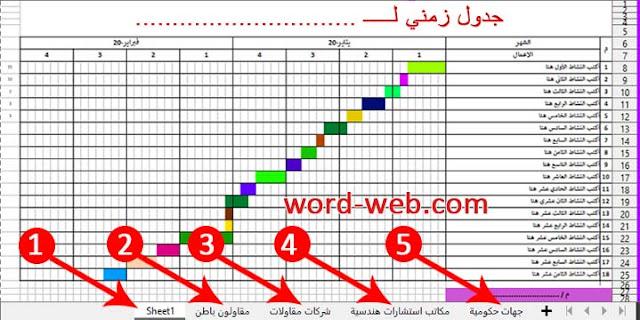 جدول زمني شهري يومي اسبوعي Excel doc pdf نموذج لتنفيذ مشروع