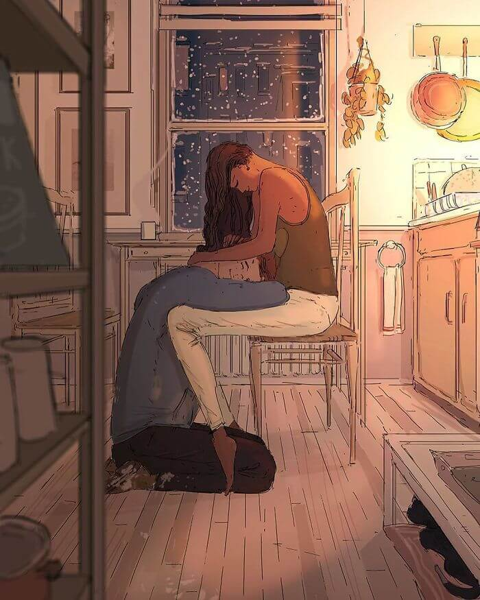 Man Creates Heartwarming Illustrations Of The Everyday Life With His Wife - Being comforted after a long day