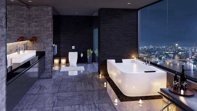 Sleek floors and shining countertops make this bathroom the perfect mirror for the decadent city below.