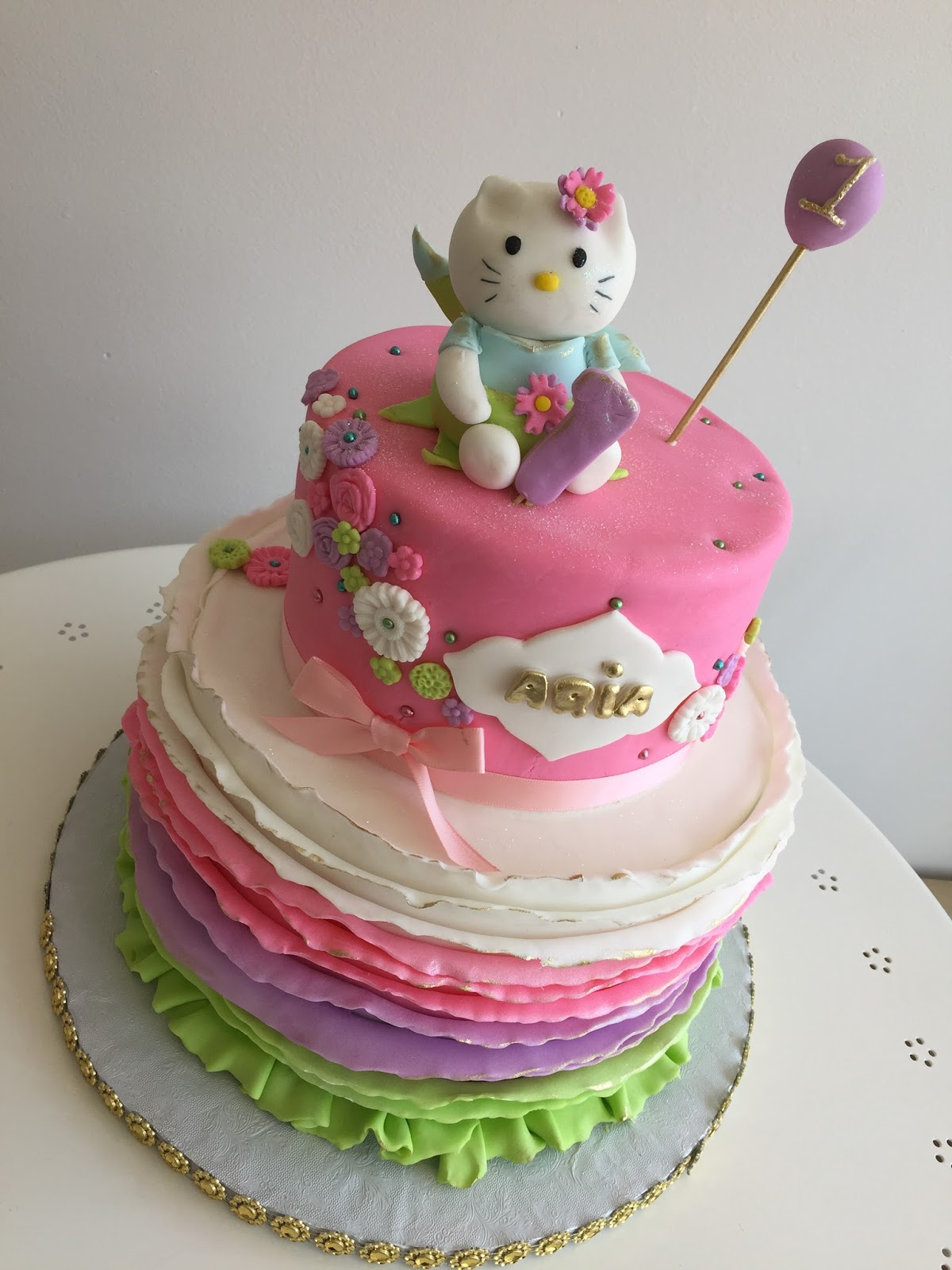 Baking With Roxanas Cakes 1st Birthday Cake Hello Kitty Themed
