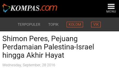 Pro Yahudi, KOMPAS Sebut Mantan Presiden Israel Sebagai Pejuang Perdamaian Palestina