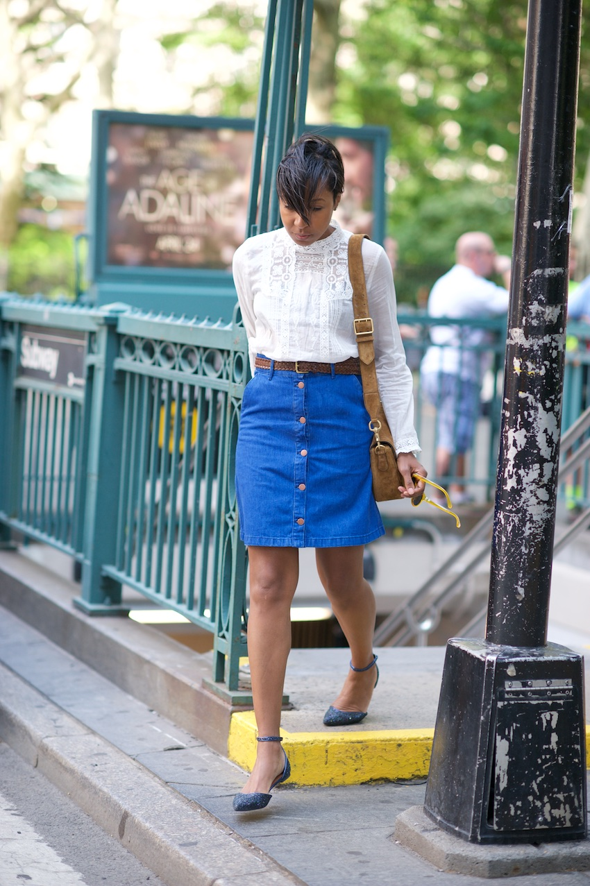 Where Did U Get That / Flats / Button Denim A Line Skirt