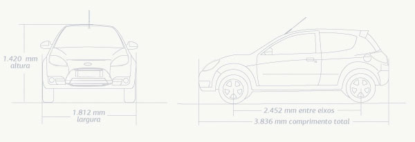 Ford Ka: Dimensões e especificações do Ford Ka