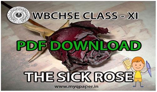 Download PDF WBCHSE Class 11 English THE SICK ROSE Notes 2022