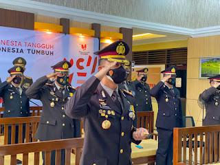 Kapolres Enrekang Mengikuti Upacara Detik-Detik Proklamasi Kemerdekaan Republik Indonesia Yang Ke-76 Secara Virtual
