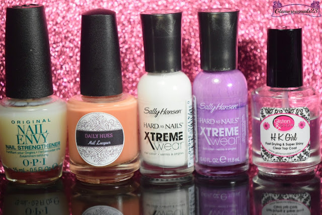 O.P.I Original Nail Envy, Daily Hues Nail Lacquer Shimmer Orange, Sally Hansen Xtreme Wear White On, Sally Hansen Xtreme Wear Violet Voltage, Glisten & Glow HK Girl Fast Drying Top Coat