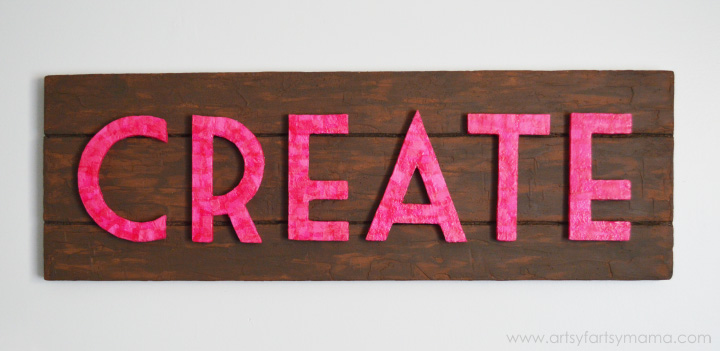 """Create"" Faux Pallet Sign at artsyfartsymama.com #MakeItFunCrafts"