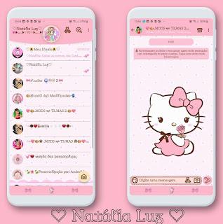 Hello Kitty Rosas Theme For YOWhatsApp & Aero WhatsApp By Natalia