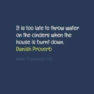 It is too late to throw water on the cinders when the house is burnt down