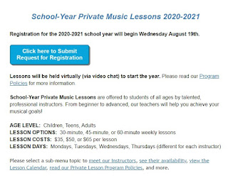 Lifelong Music Academy:  Private Music Lesson Registration Open For 2020-2021!