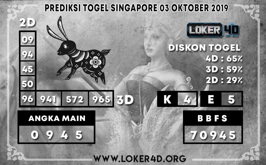 PREDIKSI TOGEL SINGAPORE LOKER4D 03 OKTOBER 2019