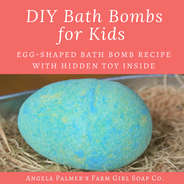 "These DIY bath bombs for kids are the cutest! These egg-shaped bombs have a toy hidden inside --  toss them in the tub and kids can watch them ""hatch."" Learn how to make them, plus get troubleshooting tips. By Angela Palmer at Farm Girl Soap Co."