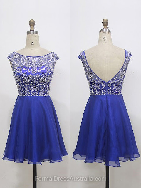 A-line Chiffon Tulle Scoop Neck with Beading Short/Mini Formal Dresses