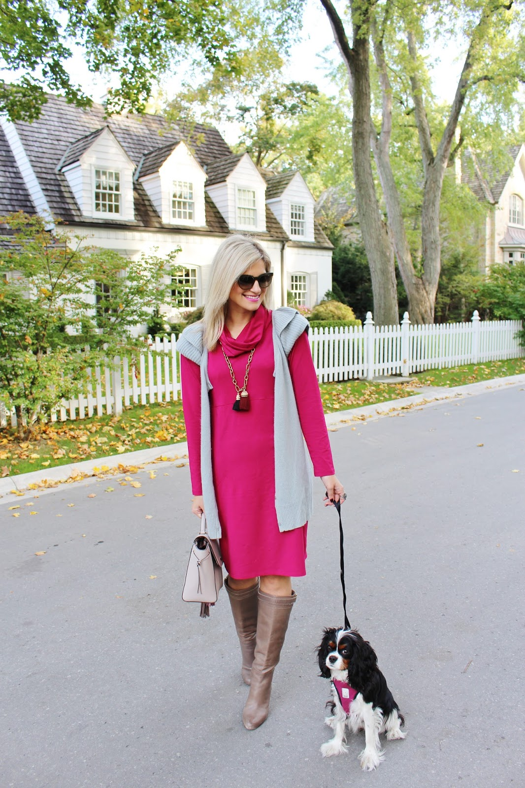 Bijuleni - Miik Cowl Pocket Cranberry Dress with Grey Sweater Vest, Ann Taylor Ankle Boots, Kate Spade handbag