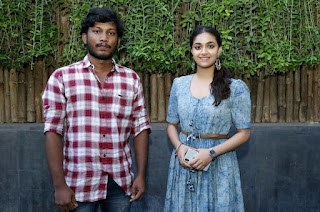 Keerthy Suresh in Blue Dress with Cute and Lovely Smile with a Fan 6