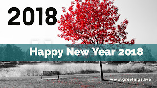Red leaf tree new year 2018 wishes