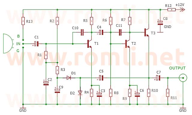 Skema pre-amp mic bebas jarak 3 transistor