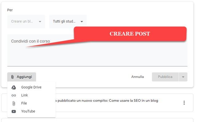 creare post nello stream di google classroom