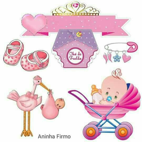 Baby Girl Free Printable Cake Toppers.