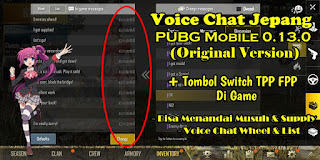 Voice Chat Jepang PUBG Mobile Global 0.13.0 Versi Original + Tombol TPP FPP Di Game