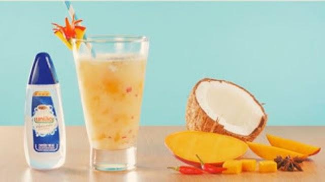 Receita de Bebida de manga, coco e especiarias com união sucralose