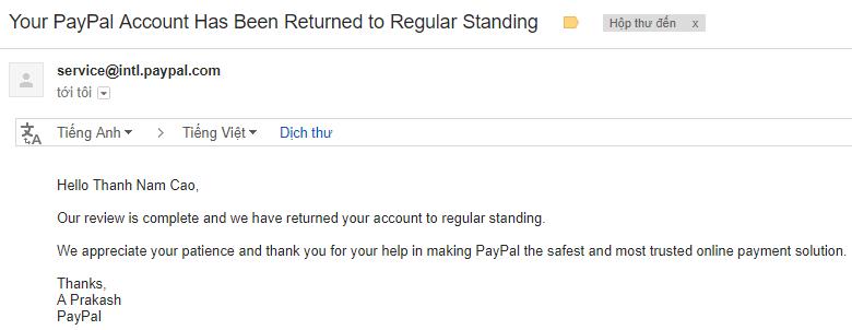 Xác nhận danh tính trên Paypal