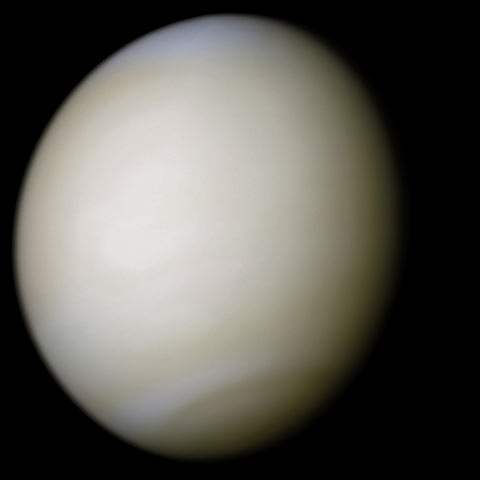 A real-colour image taken by Mariner 10 processed from two filters; the surface is obscured by thick sulfuric acid clouds