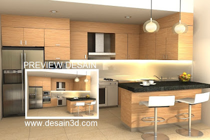 Jasa design pantry 3d simple minimalis