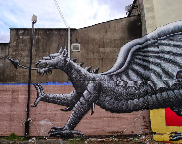 Street Art By Phlegm For Empty Walls Urban Art Festival In Cardiff, Wales. 3